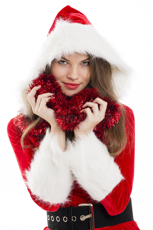 Christmas woman and red tinsel stock photos