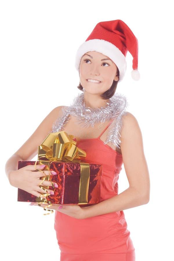 Christmas woman in santa hat stock photo