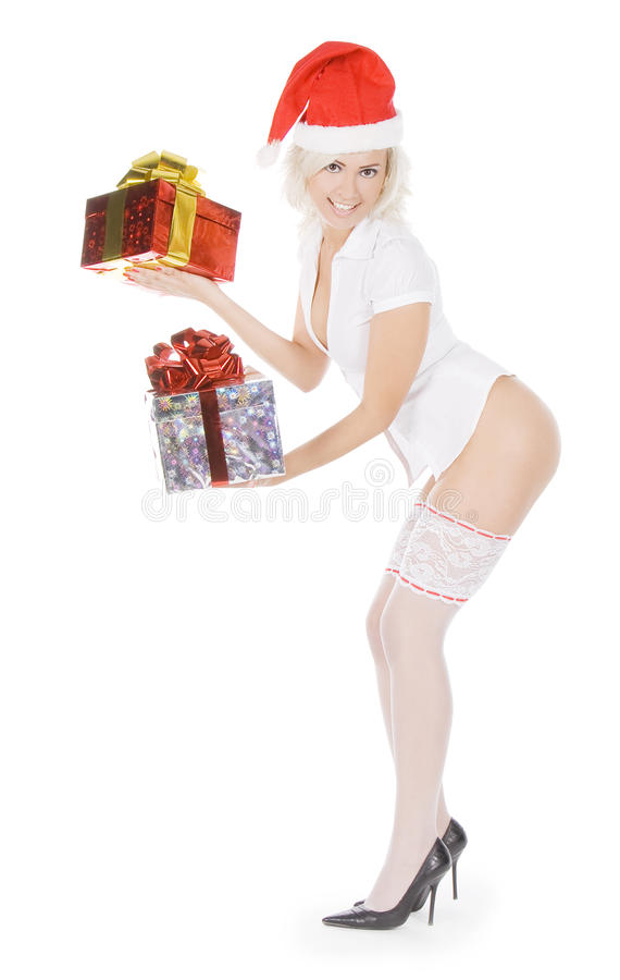 Download Christmas Woman In Santa Hat And White Stockings Stock Image - Image: 16911969