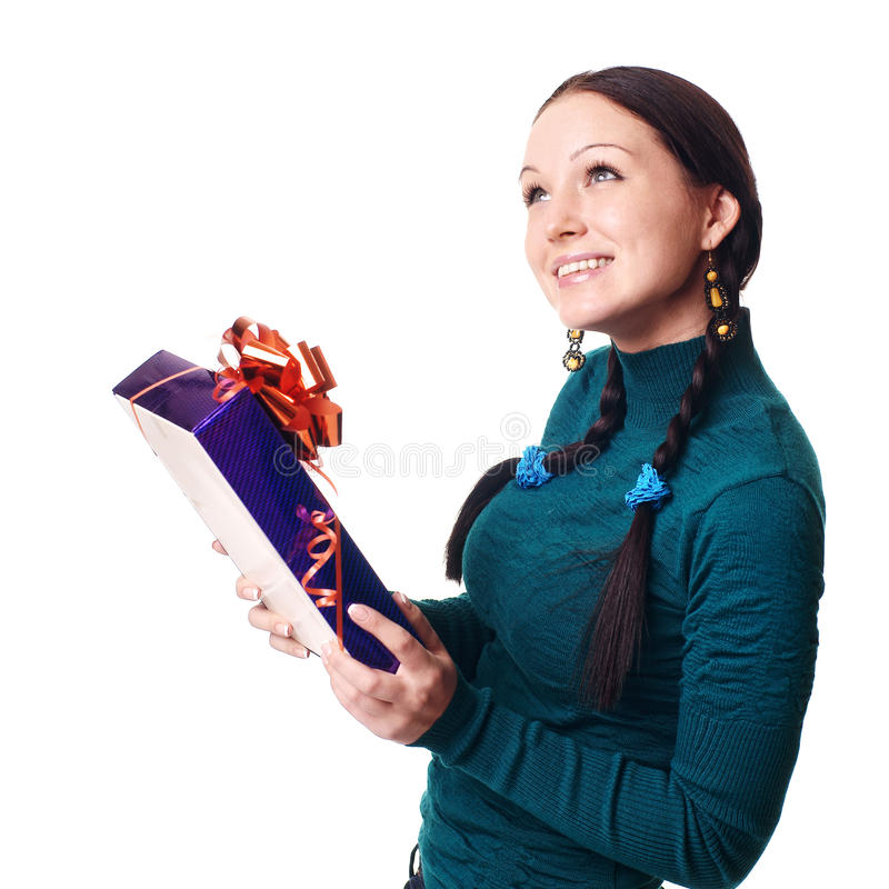 Christmas Woman Smiling Royalty Free Stock Photos