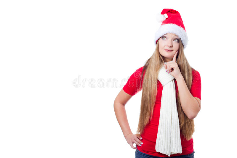 Download Christmas woman thinking stock image. Image of portrait - 22283563
