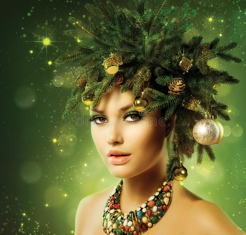 Christmas Woman. Christmas Tree Holiday Hairstyle and Make up royalty free stock photos