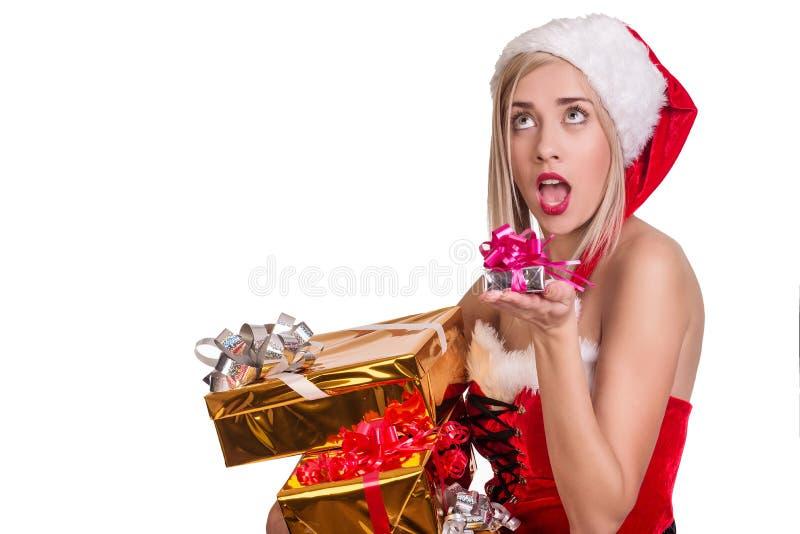 Christmas women takes gift boxes royalty free stock photo