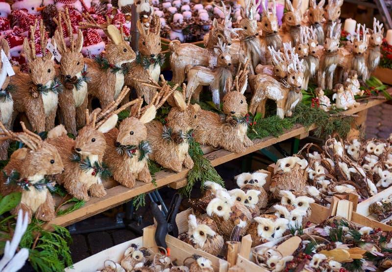 Christmas wooden animal toys. Nuremberg`s Christmas Market, one of Germany`s oldest Christmas fairs. Bavaria, Germany stock image