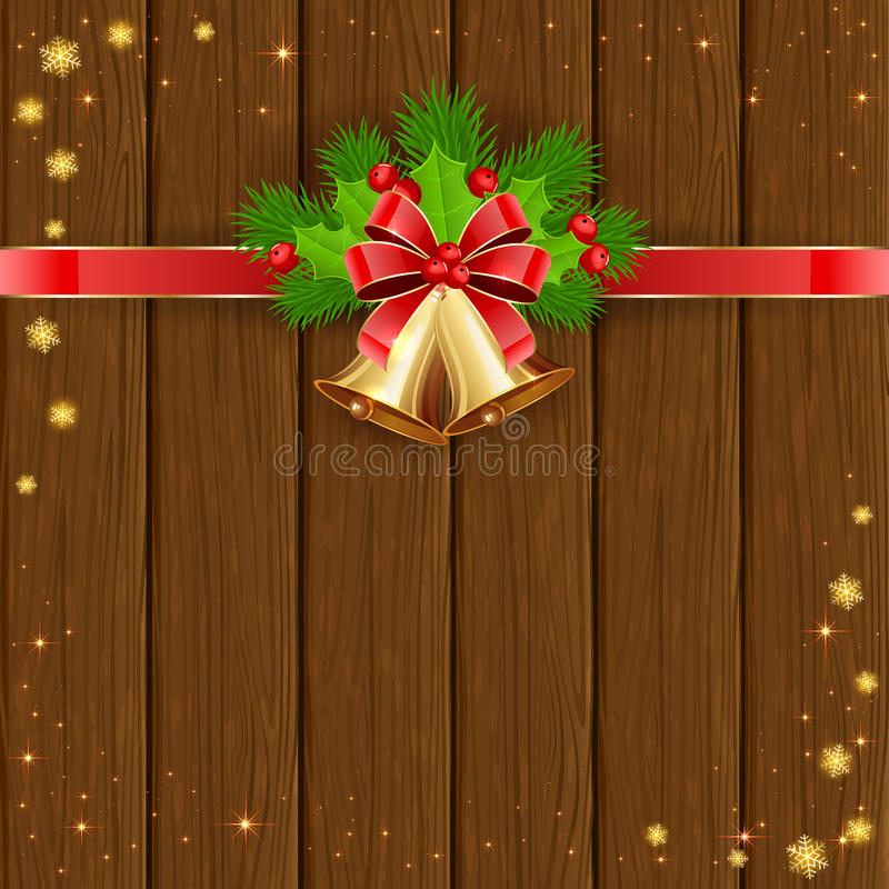 Christmas wooden background with bells and bow. Christmas decorations on wooden background with golden bells, red bow, holly berries, stars and snowflakes vector illustration