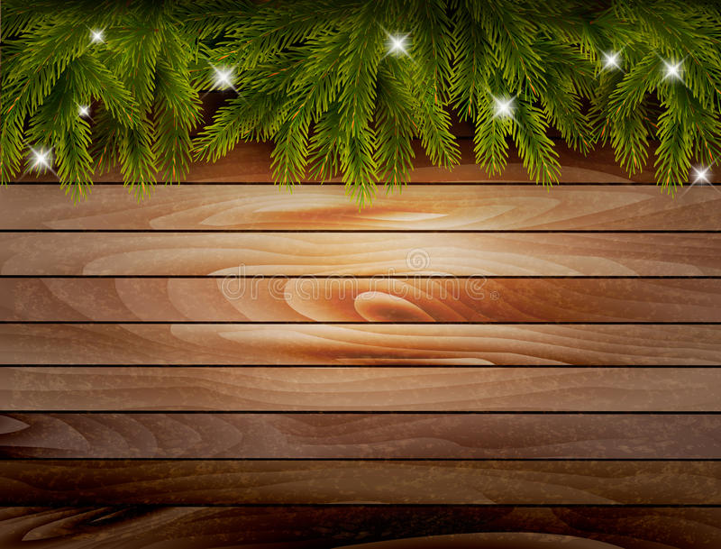 Christmas wooden background with branches and baubles. Vector stock illustration