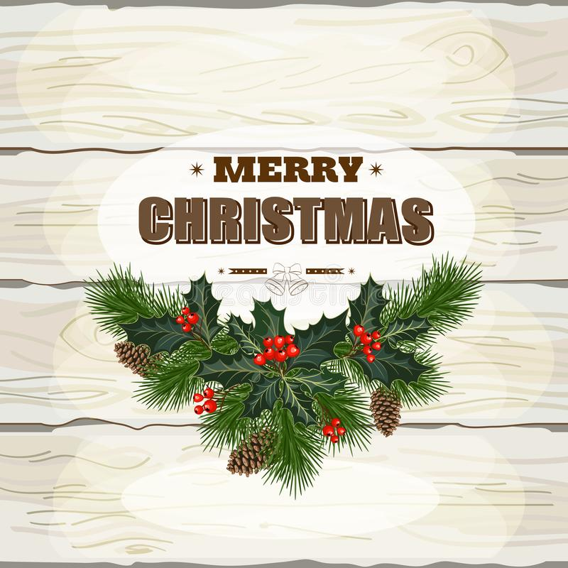 Christmas wooden background. Christmas decorations, fir tree branches and decorative elements on white wooden background. Vector illustration royalty free illustration