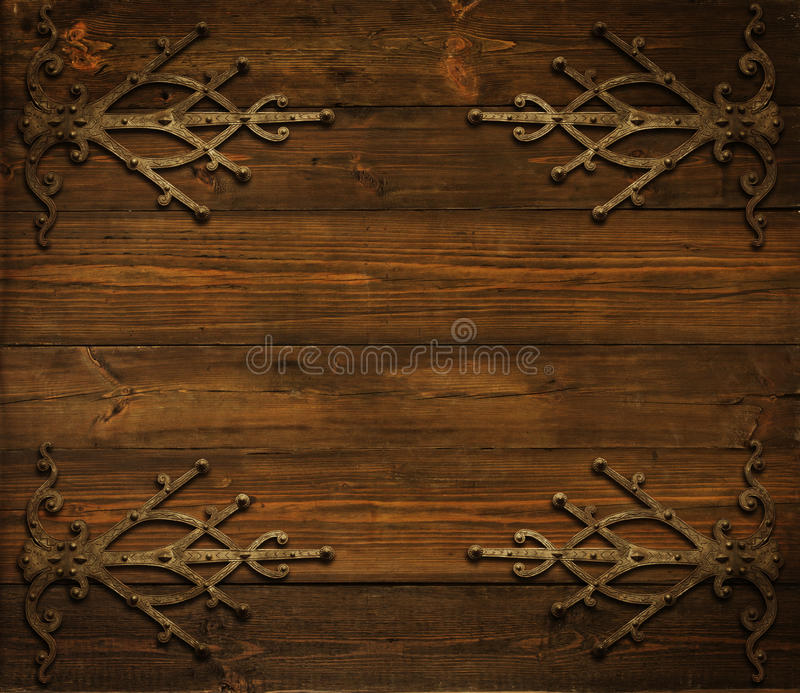 Christmas Wooden Background Decorated By Grunge Metal Ornament stock images