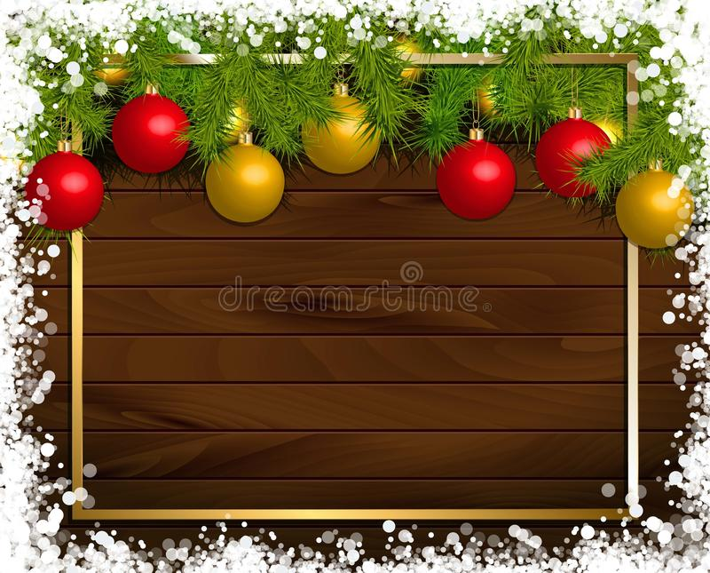 Christmas wooden background. With fir branches and balls. Vector illustration. Framed by a gold frame vector illustration