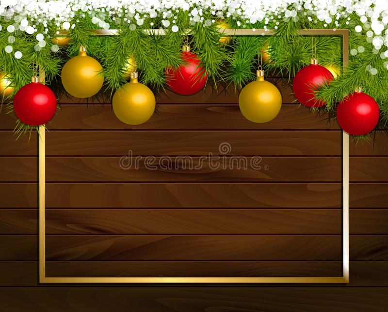 Christmas wooden background. With fir branches and balls. Vector illustration. Framed by a gold frame stock illustration