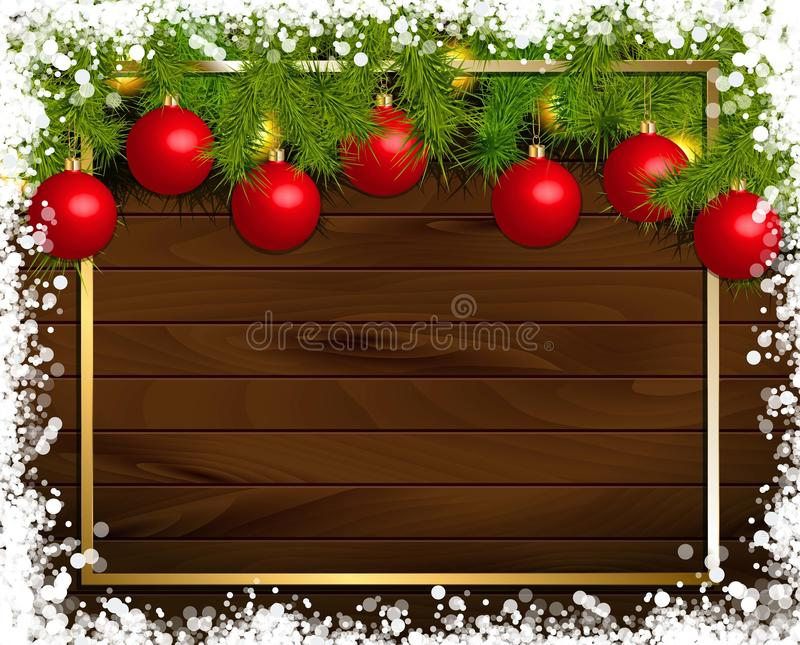 Christmas wooden background. With fir branches and balls. Vector illustration. Framed by a gold frame royalty free illustration