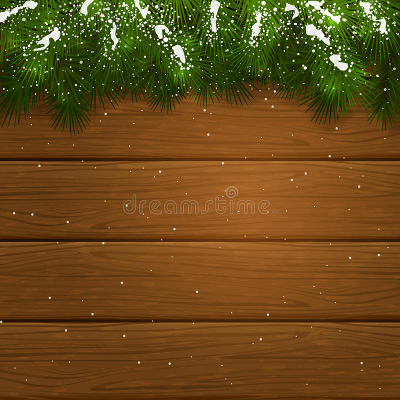 Christmas wooden background with fir tree branches and snow. Christmas theme, decorative spruce branches and snow on a wooden background, illustration royalty free illustration
