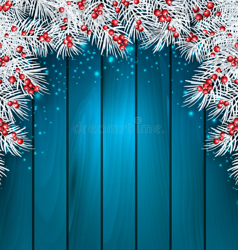 Christmas Wooden Background with Fir Tree Twigs. Illustration Christmas Wooden Background with Fir Tree Twigs, Glowing Banner for Happy New Year - Vector royalty free illustration