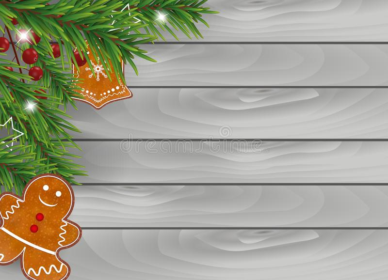Christmas wooden background with Gingerbread cookies, Christmas tree branches and Holly berries for Xmas and New Year design. Vect. Or illustration royalty free illustration