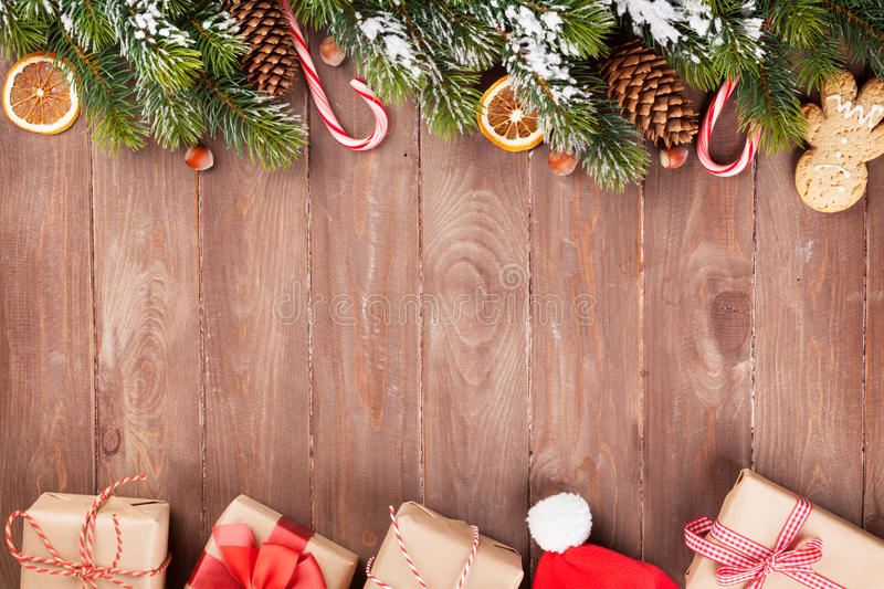 Christmas wooden background stock image