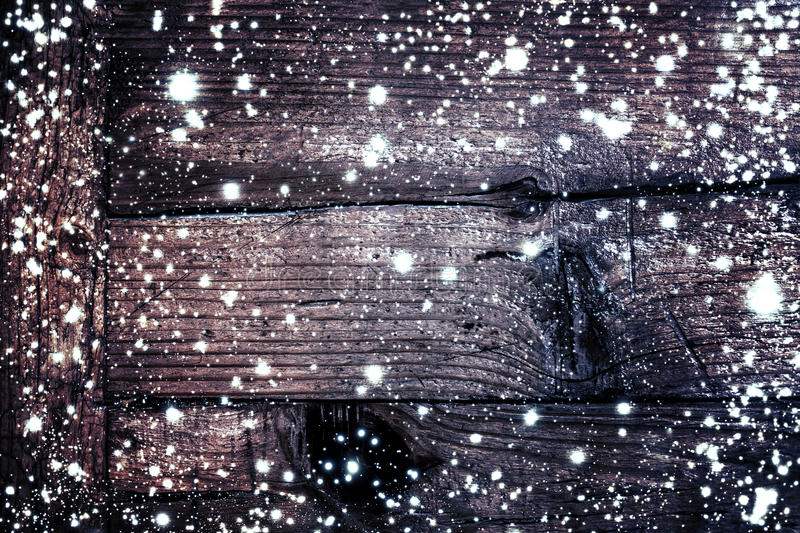 Christmas wooden background with snow flakes. Brown wood texture vector illustration