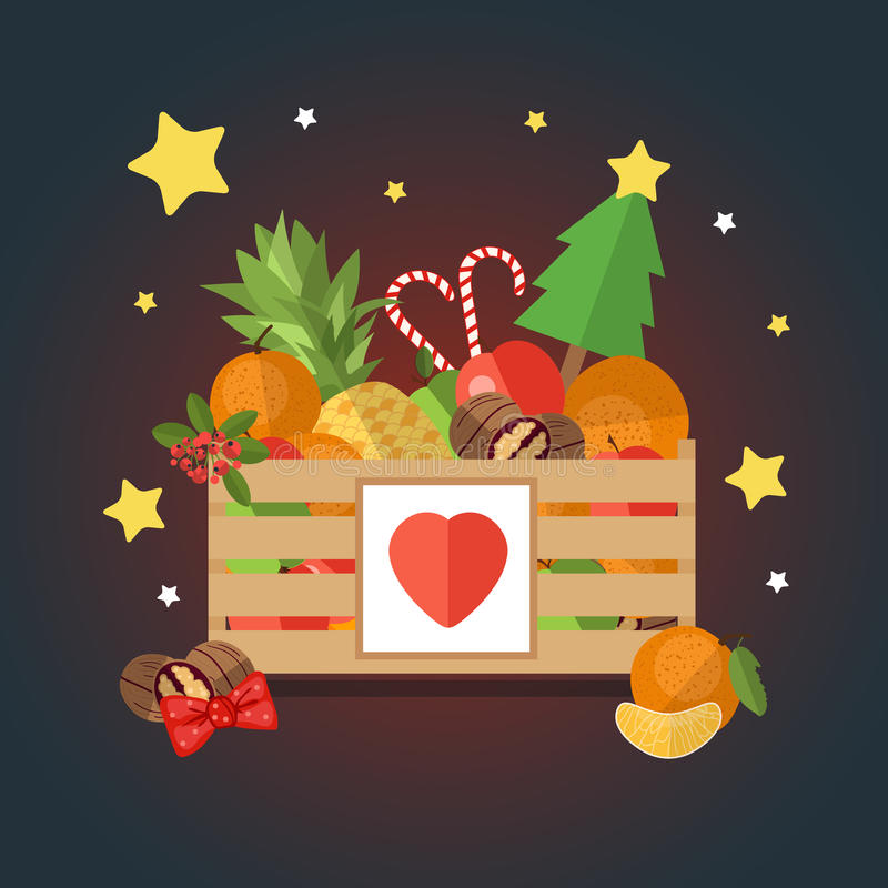 Christmas wooden box with fruit and dessert in a flat style. The background of fresh, natural foods. Cart with product buy in supermarket. Vector illustration vector illustration