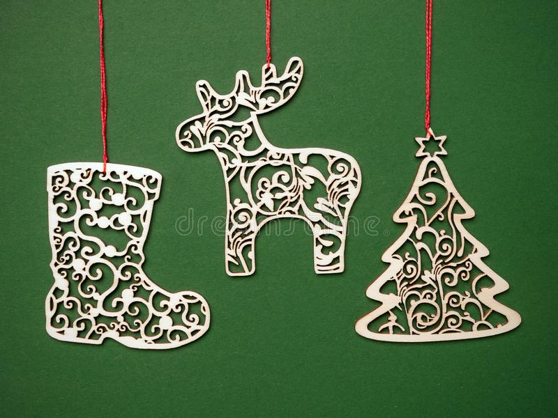 Christmas wooden cut-out decorations stock image