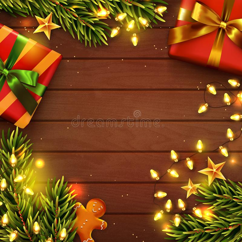 Christmas wooden decorated background. Top view. Vector. Christmas background with copy space. Wooden table decorated with gifts, Christmas tree branches stock illustration