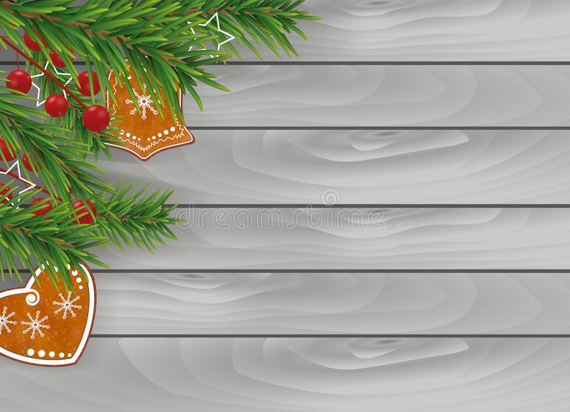 Christmas wooden gray background with Gingerbread cookies, Christmas tree branches and Holly berries for Xmas and New Year design. stock illustration
