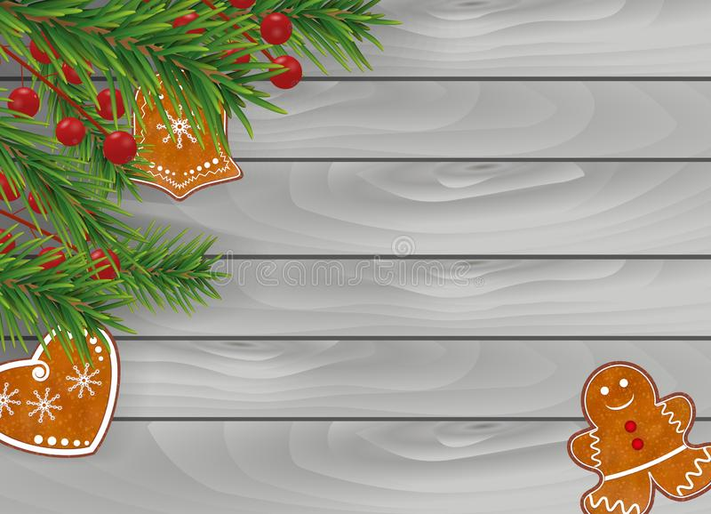 Christmas wooden gray background with Gingerbread cookies, Christmas tree branches and Holly berries for Xmas and New Year design. Vector illustration royalty free illustration