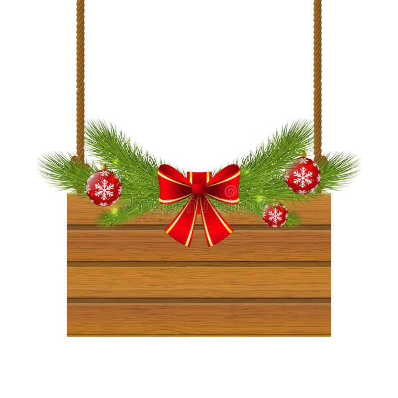 Christmas wooden plate. For Your design vector illustration