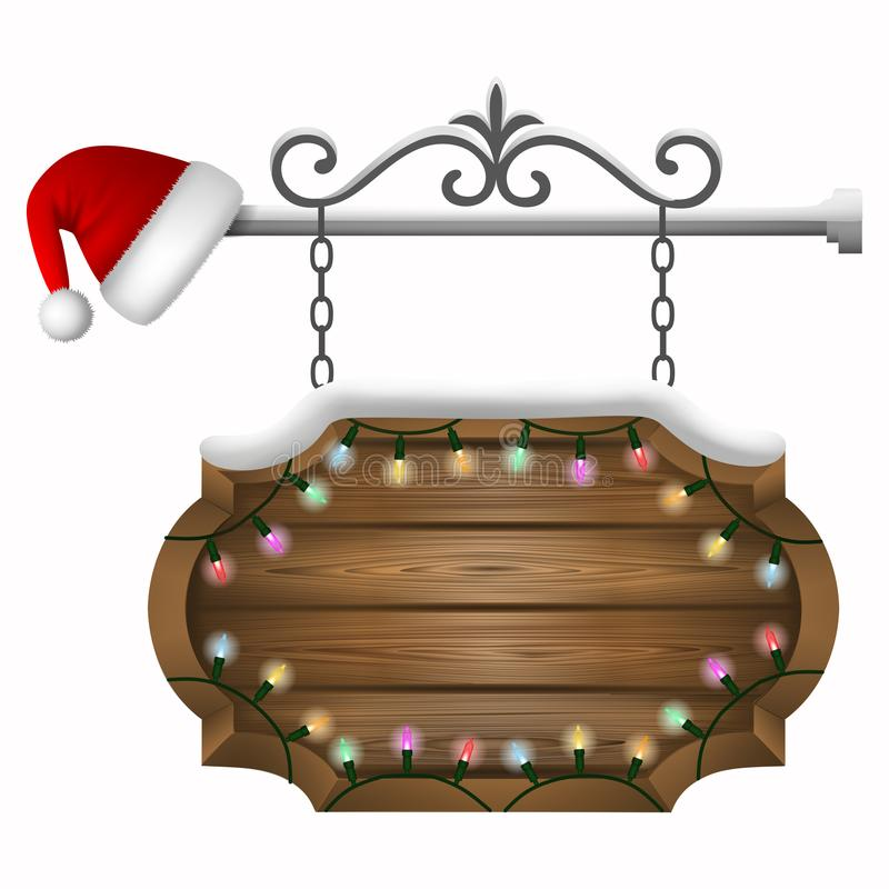 Christmas wooden sign board with snow, colorful lights and santa claus hat stock illustration