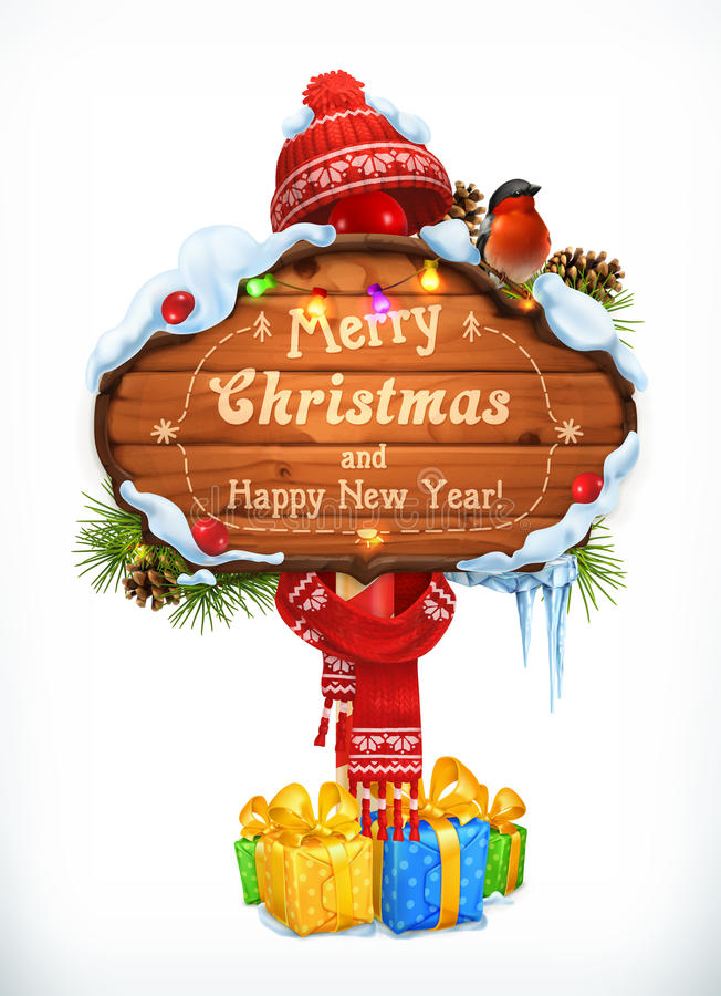 Christmas wooden sign. Merry Christmas and Happy New Year. Holiday vector illustration vector illustration