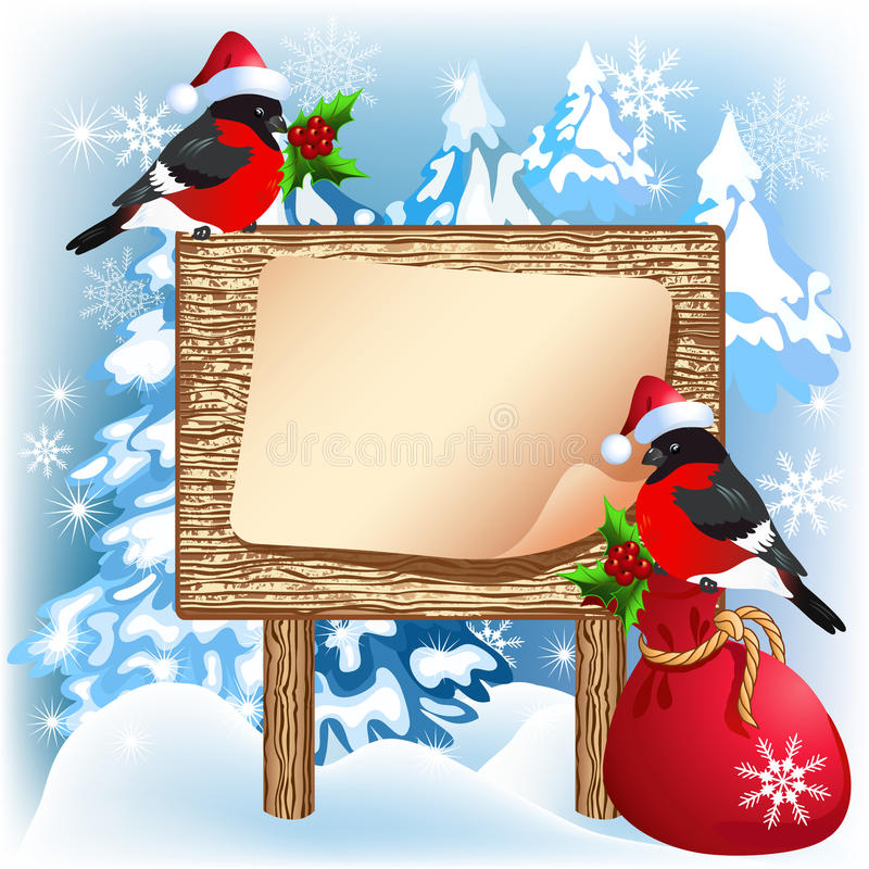 Christmas wooden signboard with bullfinches and gift bag. Christmas wooden signboard with bullfinches in Santa Claus hat and gift bag stock illustration