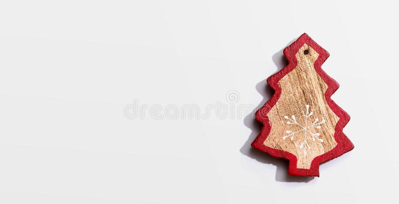 Christmas wooden tree ornament stock photos
