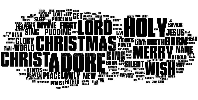 Christmas word cloud. With black text on a white background royalty free illustration