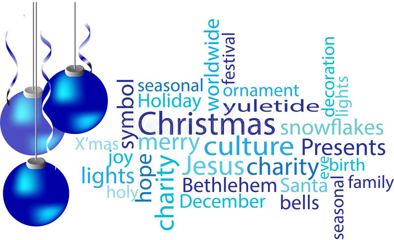 Christmas word cloud in blue. With confetti and decor stock photography