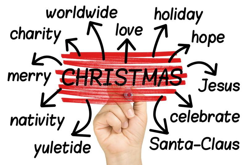 Christmas Wordcloud or tagcloud hand highlighting isolated. On white stock photography