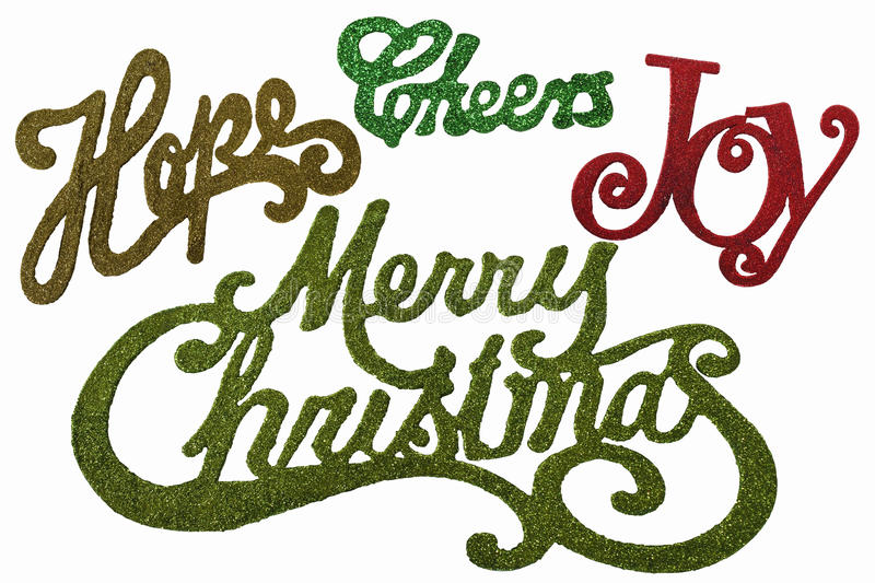 Christmas Words in Glitter and colors. Isolated on a white background stock photos