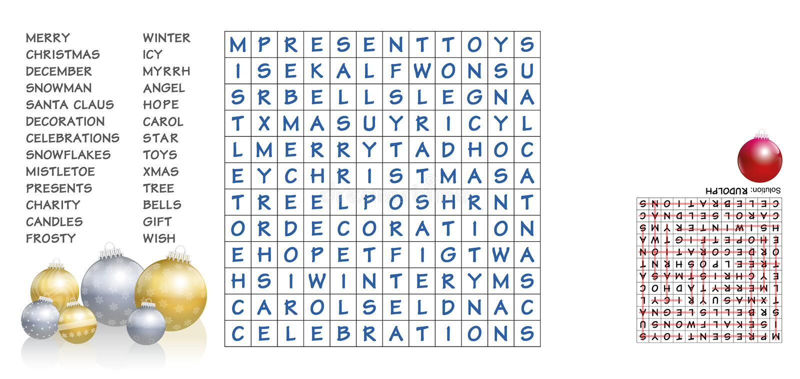 Christmas Words Search Puzzle. Christmas crossword - find the listed words in the puzzle and cross them out. The eight leftover letters will spell out an stock illustration