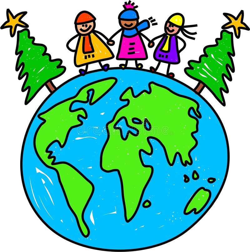 Christmas world kids vector illustration