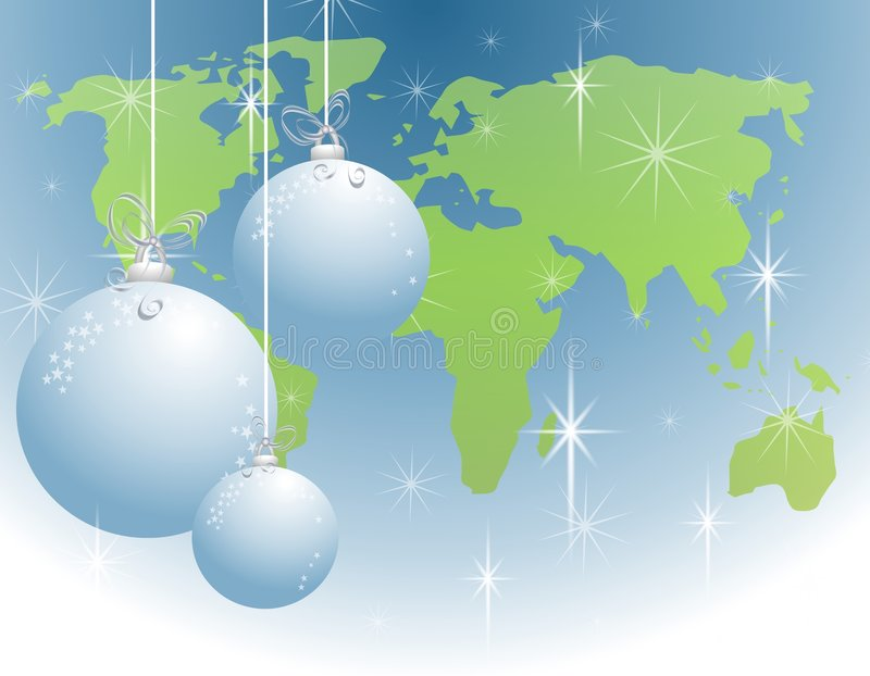 Christmas World Peace Ornaments stock illustration