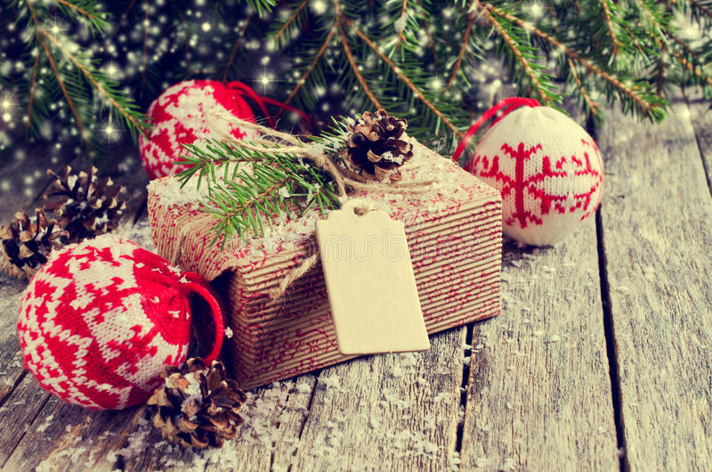 Christmas wrapped gifts. On the background of fir branches and snow stock photo