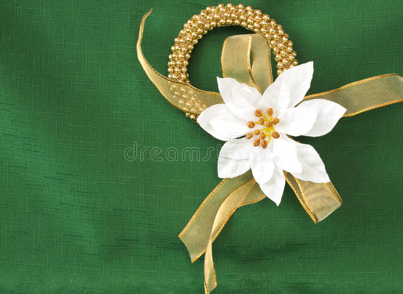 Christmas wreath. With gold ribbon and white poinsettia on a green background stock photography