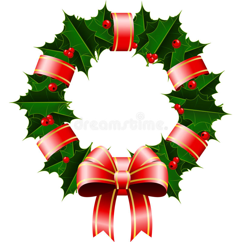 Christmas Wreath. An illustration of a Christmas Wreath of holly wrapped in a red ribbon stock illustration