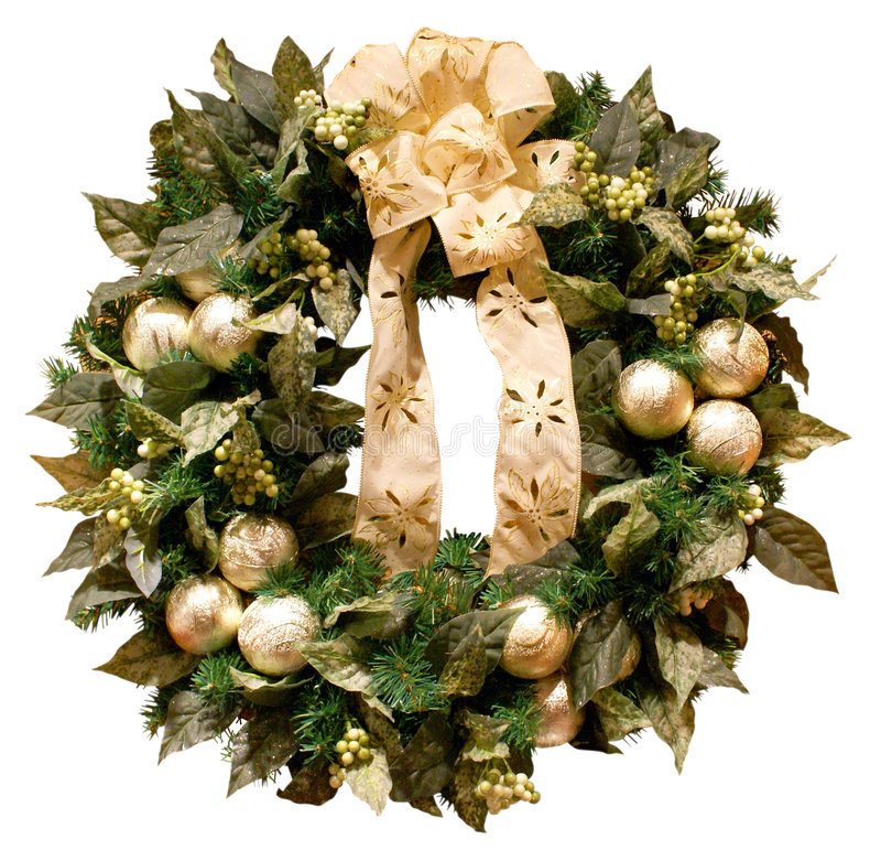 Christmas Wreath. Isolated view of an elegant cream/gold/sage green wreath