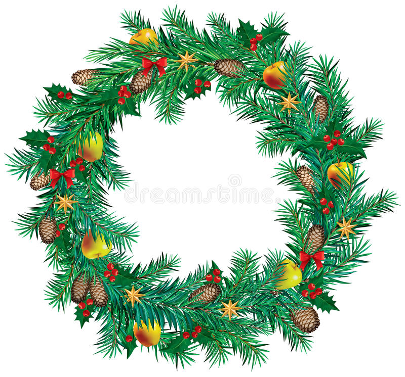 Download Christmas wreath stock vector. Illustration of pine, fluffy - 26586879