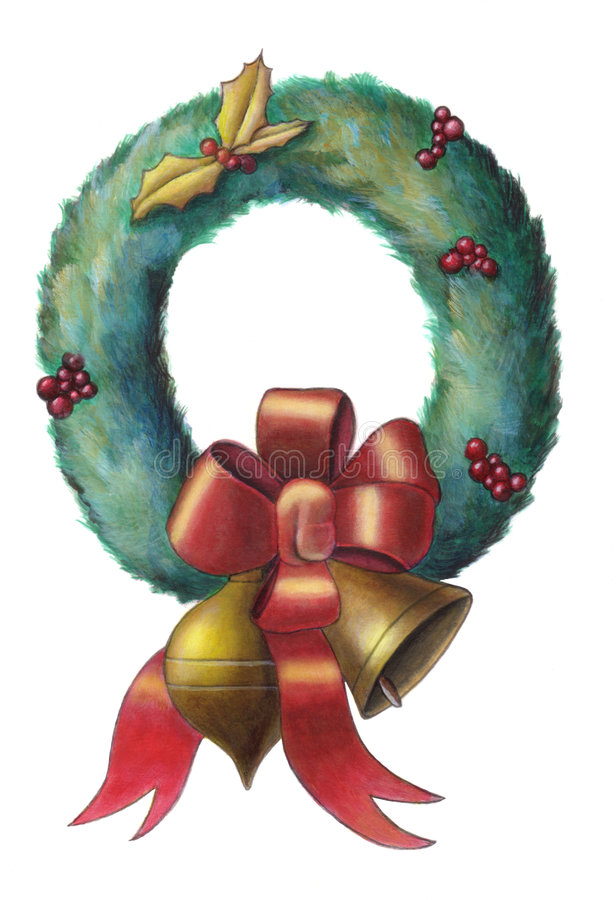 Christmas wreath. With colored ribbon and ornaments. Hand painted illustration royalty free illustration