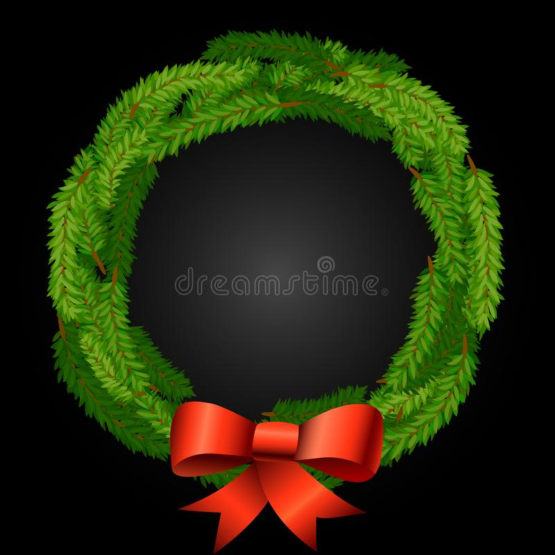 Christmas wreath background with fir or pine branches and red bow of ribbons royalty free illustration