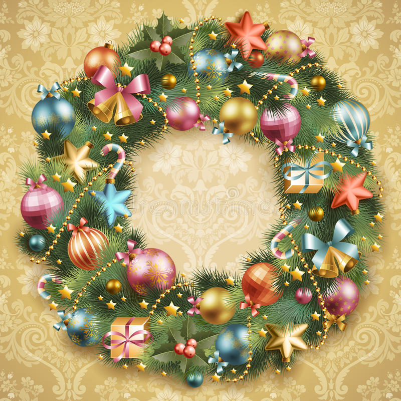 Download Christmas Wreath With Baubles Stock Vector - Image: 22135175