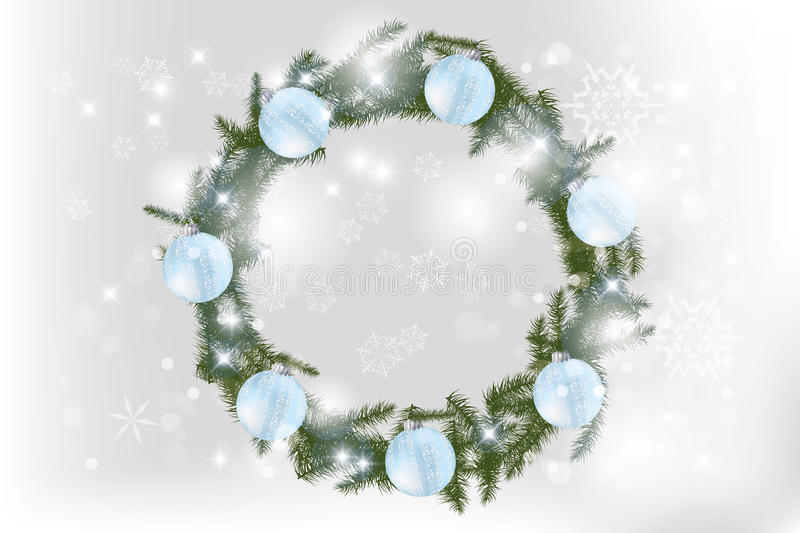 Christmas wreath with baubles stock illustration