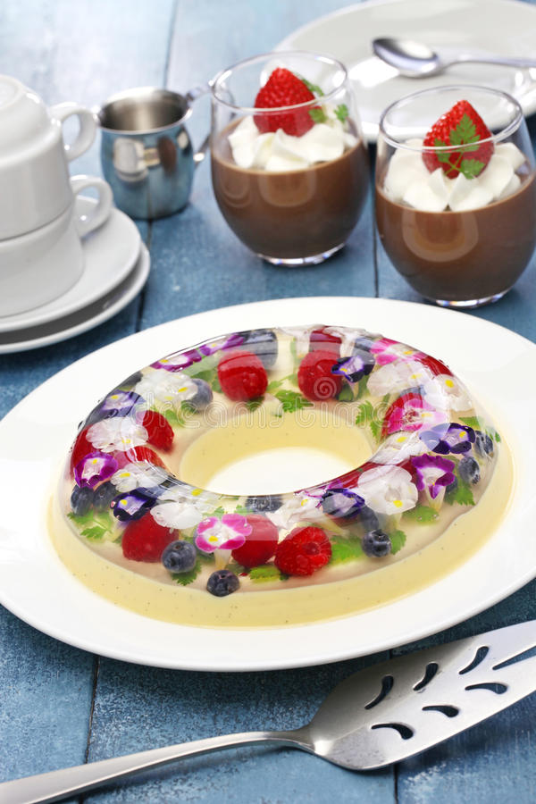 Christmas wreath bavarois and chocolate mousse, homemade jelly dessert stock image
