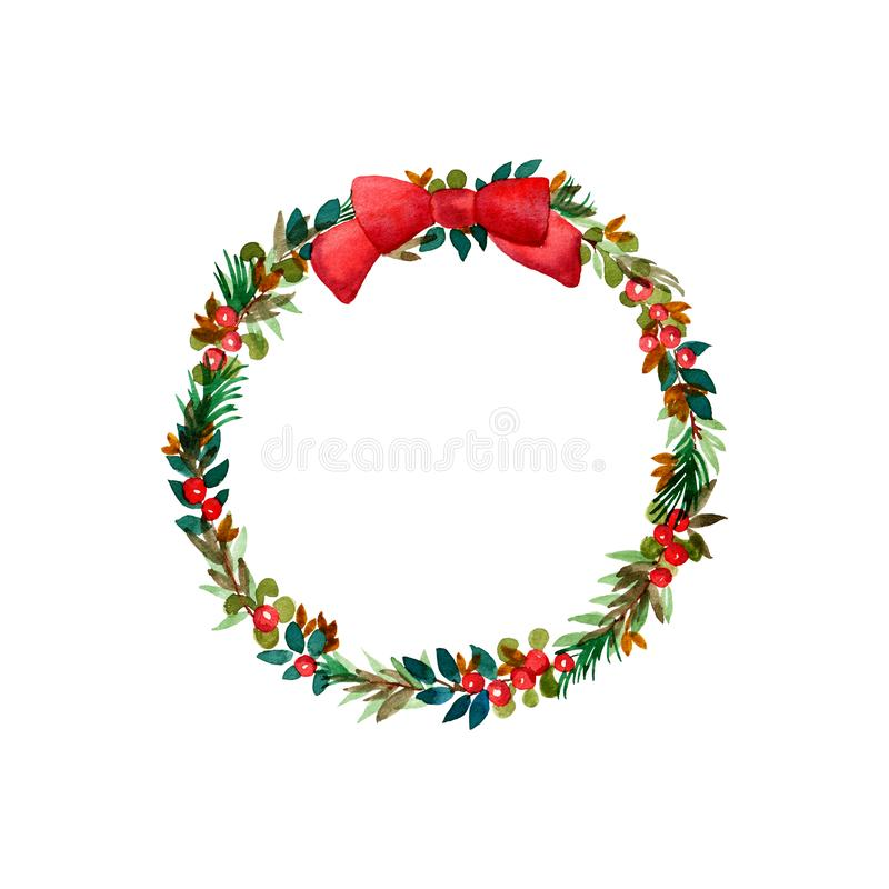 Christmas wreath watercolor illustration vector illustration