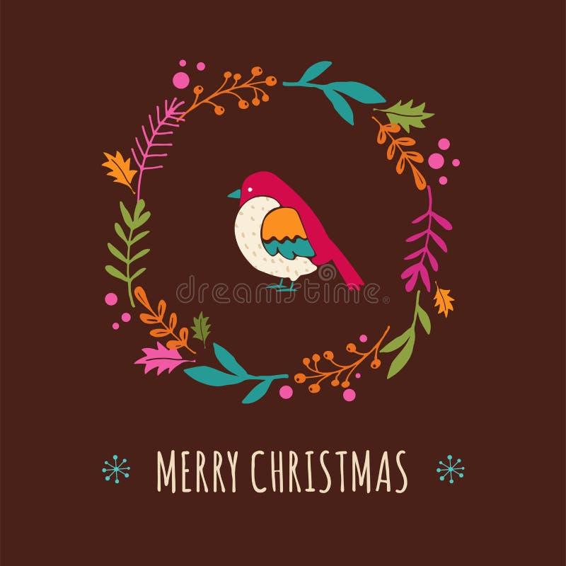 Christmas wreath with bird, Greeting card vector illustration