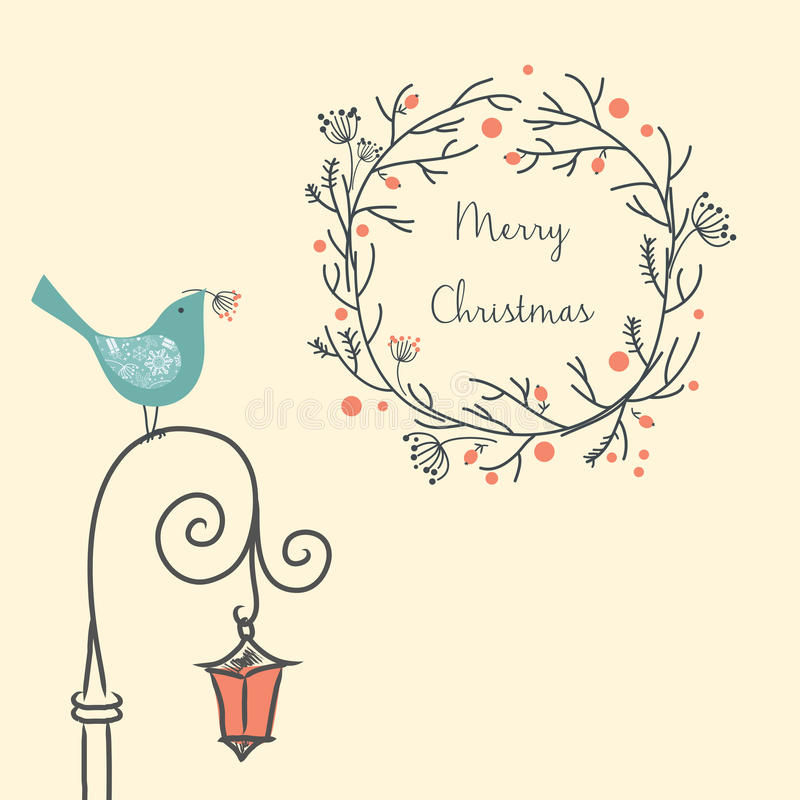 Christmas wreath with bird on the old street light. Vintage New Year and Christmas element. Christmas greeting card. royalty free illustration
